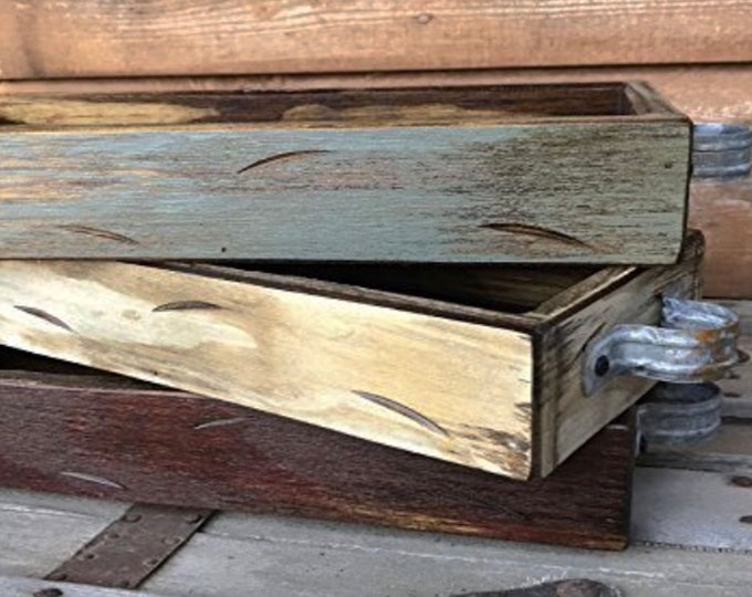 TRAY Wood with Handles for decor *MEDIUM *Create a Mason Jar Kitchen Table Centerpiece -Antique White, Red, Blue Gray *Distressed Rustic