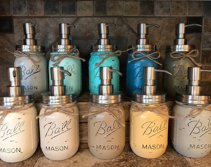 Mason JAR SOAP Stainless Steel Silver DISPENSER Painted Distressed Ball Pint Canning *Kitchen Bathroom Lotion Blue Turquoise Green *Quality