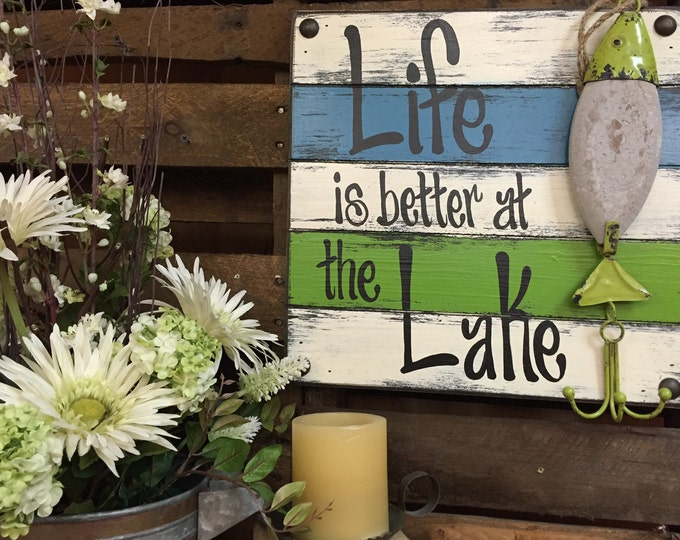 FISH SIGN LURE Life is better at the Lake Pallet Unique Teal Caribbean Blue Turquoise Coral Distressed Fisherman Dad Gift Bait hook Fishing