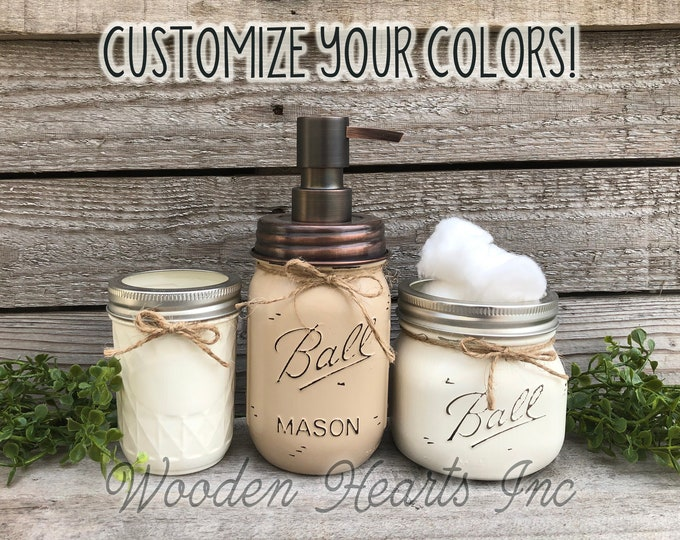Mason Jar 3 piece SET Bathroom Decor Farmhouse, Soap Lotion Pump Dispenser Makeup Brush Toothbrush Holder Painted Ball Jars Kitchen Counter