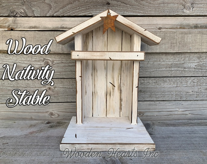STABLE CRECHE Fits Willow Tree Nativity Fireplace MANTLE Wood Lighted Christmas Personalized Baby Manger Angel Stand Lights White Brown