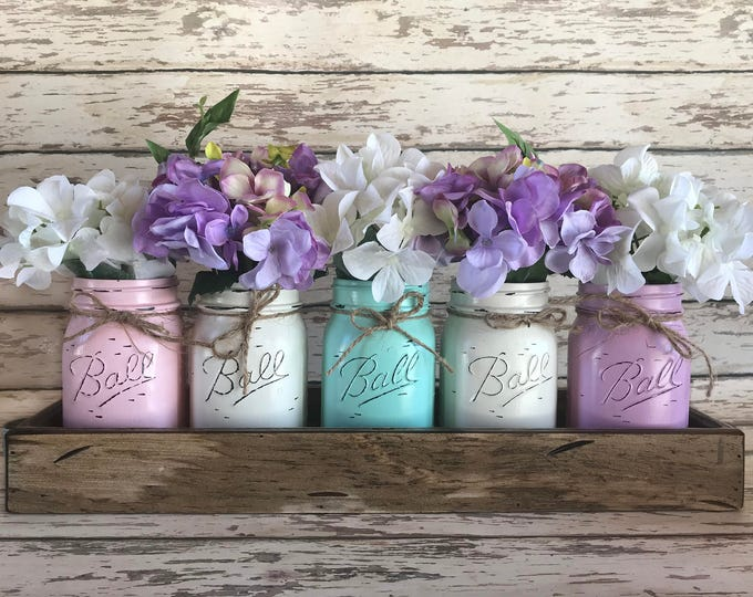 MASON Jar Decor Spring Table Centerpiece (Flowers optional) -Antique White TRAY with Handles 5 Ball Painted Pint Jars Distressed Wood Easter