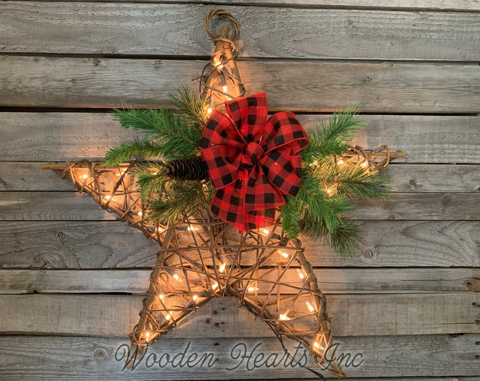 Lighted STAR RATTAN Christmas Decor with Buffalo Plaid Bow and Warm White Lights, 24x24, Large wall hanging, Festive Holiday Xmas