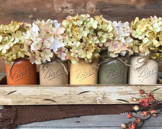 FALL MASON Jar Decor Thanksgiving Centerpiece (Flowers optional) -Antique White TRAY Distressed Wood- 5 Ball Painted Pint Jars Orange Green