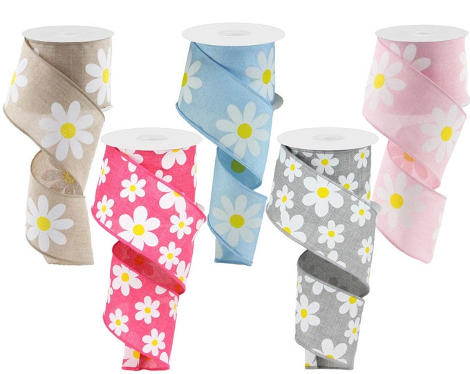 """DAISY Flower RIBBON roll of Wired 2.5"""" wide X 10 Yard, Create Spring bows, Tan, Pink, Blue, Gray, 1 ROLL"""