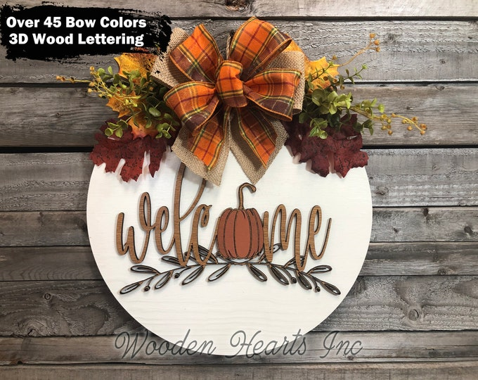 "FALL Door hanger Wreath WELCOME Pumpkin Wood Round Sign 16"" 3D Wood Lettering Bow  Leaves Distressed White Orange Brown"