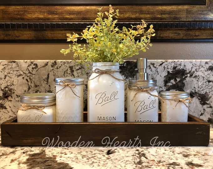 MASON Jar Bathroom Decor American WALNUT Tray Set, Cotton Ball, Toothbrush Holder, Quart Vase with Flower, Soap Dispenser, Mini Q-tip Jars