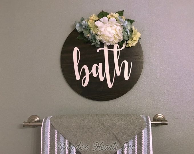 "Bathroom Wall Decor Farmhouse BATH 16"" Round Sign Spring Wreath with Flowers Summer Door Decorations Peony Hydrangea Hanging White Gray"