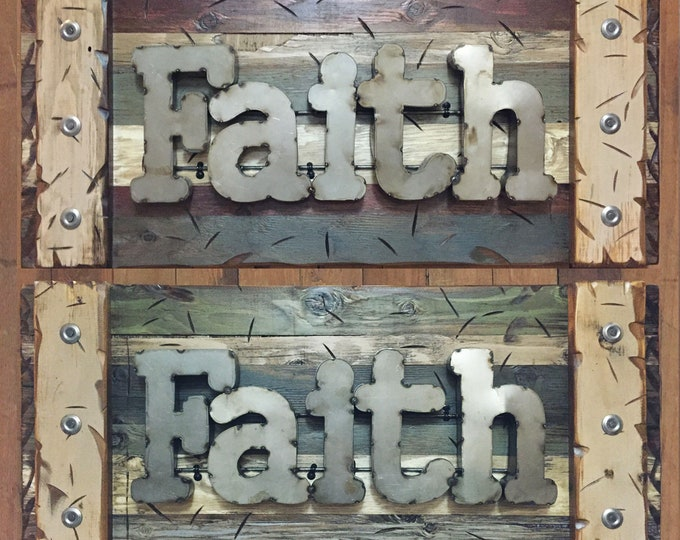 FAITH Rustic Sign Reclaimed Distressed Industrial Navy Blue Green Red Brown Metal Large Pallet Wall Home Decor Log Cabin Gift Shutter 36x14