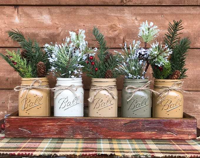 CHRISTMAS HOLIDAY Tray Centerpiece with Jars (Florals optional) Distressed Wood Antique RED pine flowers 5 Ball Pint Jar must-cr-cof-pew-mus