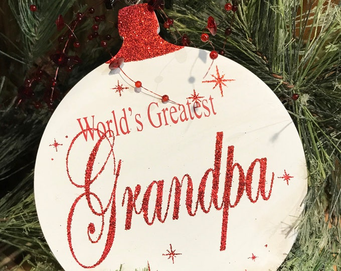 ORNAMENT World's Greatest Grandpa Grandma, Baby's First Christmas Tree Memory Gift for a boy or girl * Red Glitter on White Wood Hanging Orn