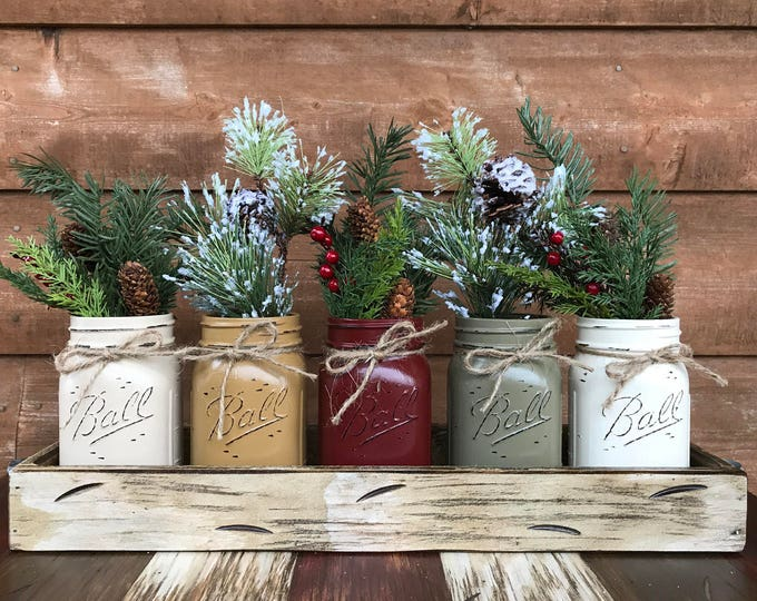 CHRISTMAS Jar Centerpiece HOLIDAY Tray with Jars (Florals optional) Distressed Wood Antique WHITE pine flowers 5 Ball Pint san-mus-bu-pew-cr