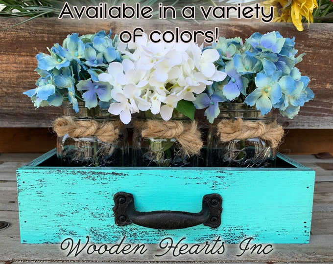 MASON Jar Centerpiece DRAWER (Flowers Optional) Reclaimed Distressed Box Ball with 3 Canning Jars Crate Caddy Handle Red Blue Cream Teal