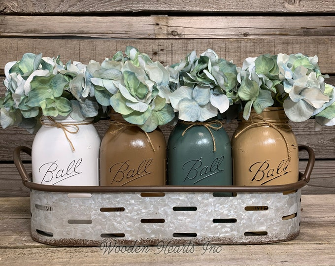 Centerpiece Galvanized Tray with Handles with optional pint or quart jars and flowers, Farmhouse Table Decor, Oval Olive Tray, Metal Country