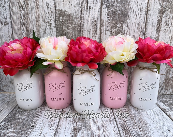 Wedding Decorations for Table MASON Jar Decor Distressed Ball QUART Centerpiece Bridal Baby Shower White Gray Pink *Peony Flower Optional