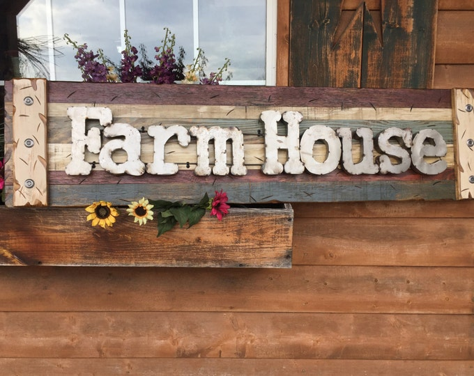 FARM HOUSE Farmhouse Decor Wall Sign Rustic Reclaimed Shutter Distressed Industrial Blue Green Red Metal Large Pallet Cabin Gift Home Log