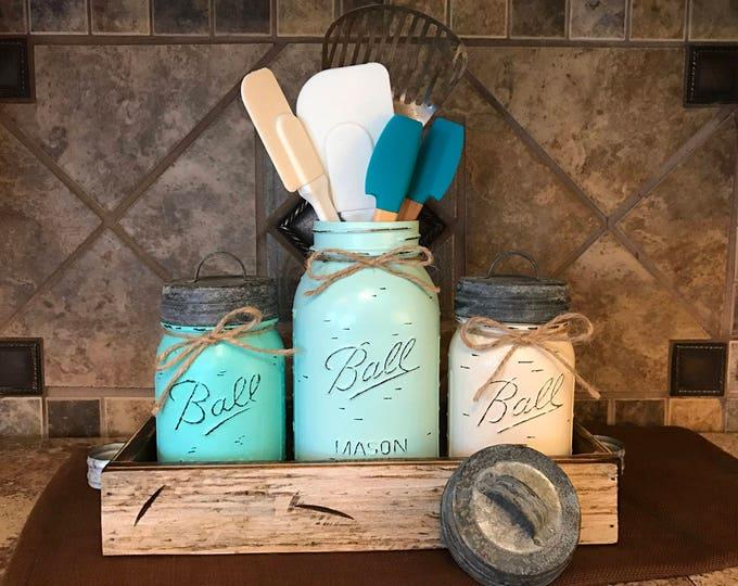MASON Jar Kitchen CANISTER SET with metal galvanized lids, Utensil Holder, Painted Pint Jars Distressed Blue Gray *Flower Optional