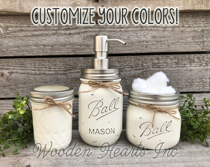 3 piece Mason JAR SET Bathroom Decor Farmhouse, Soap Lotion Pump Dispenser Makeup Brush Toothbrush Holder Painted Ball Jars Kitchen Counter