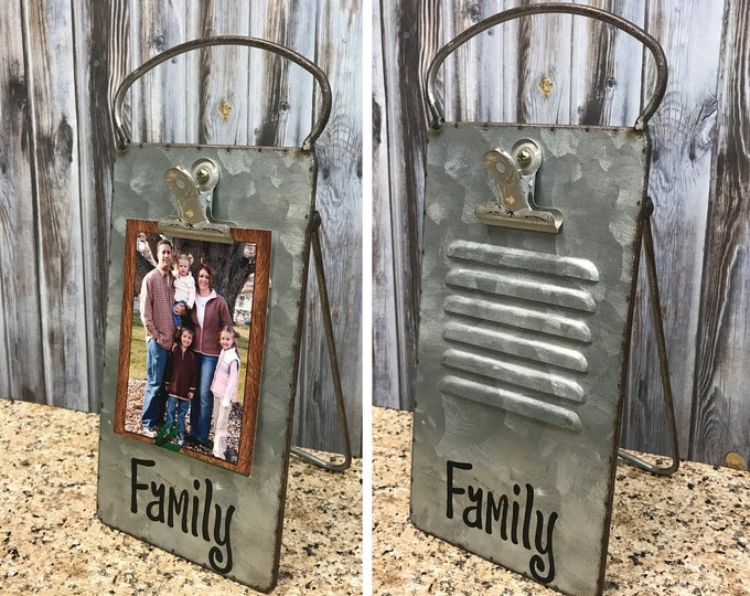 PHOTO HOLDER Metal Antique Cheese Grater with Clip/Clipboard Picture Frame great for 4x6 photos -Vintage Rustic Silver, Grand Dogs, Family