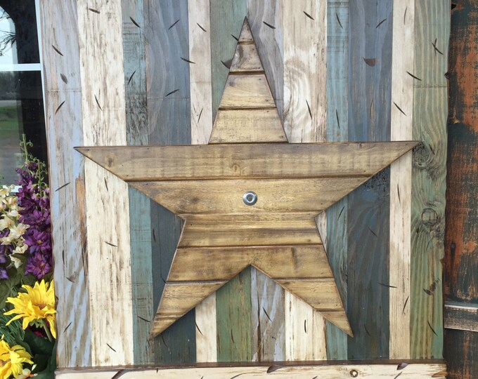 STAR Rustic Sign Reclaimed Shutter Barn Wood Distressed Industrial Navy Blue Green Burgundy Metal Large XL Pallet Wall Home Decor Log Cabin