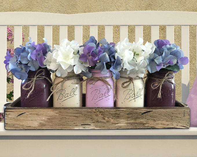 MASON Jar Decor Spring Table Centerpiece (Flowers optional) -Antique White TRAY with Handles 5 Ball Painted Pint Jars Distressed Wood Purple