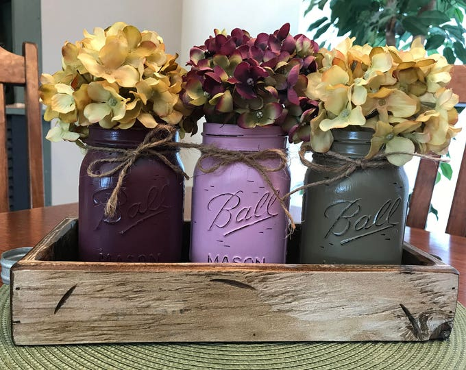 MASON Jar Decor Spring Centerpiece (Flowers optional) -Antique White TRAY with 3 Ball Canning Painted Pint Jars Distressed Wood Purple Green