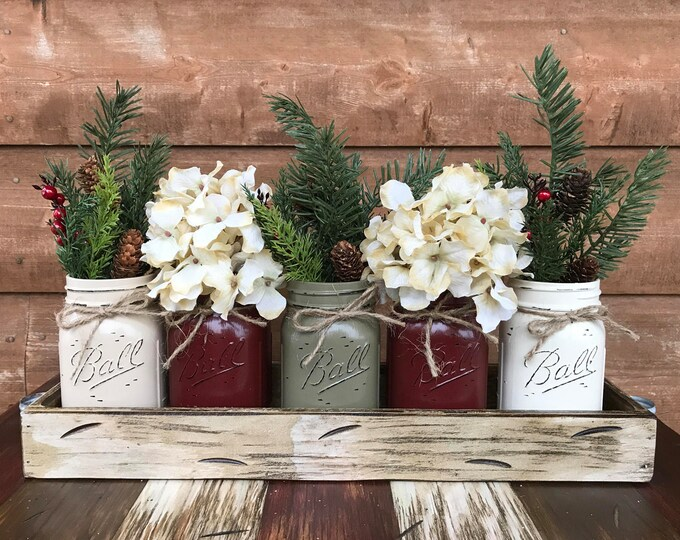 CHRISTMAS HOLIDAY Tray Centerpiece with Jars (Florals optional) Distressed Wood Antique WHITE pine flowers 5 Ball Pint Jar san-bu-pew-bu-crm