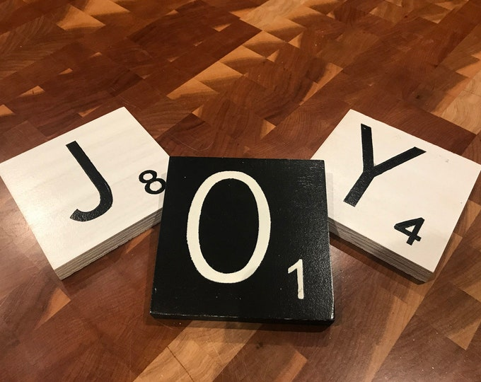 SCRABBLE Tile LETTER SET of 3 Decor *Wall Hanging *Distressed Black or White Wood 5x5 *Customize a name or word! Children's room, Wedding