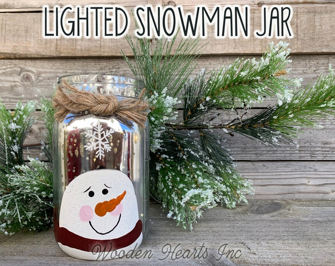 Christmas Jar Decor Snowman Lighted Fairy LED Lights Handpainted Mercury Silver Gold Metallic Glass Quart Christmas Xmas Decoration Winter