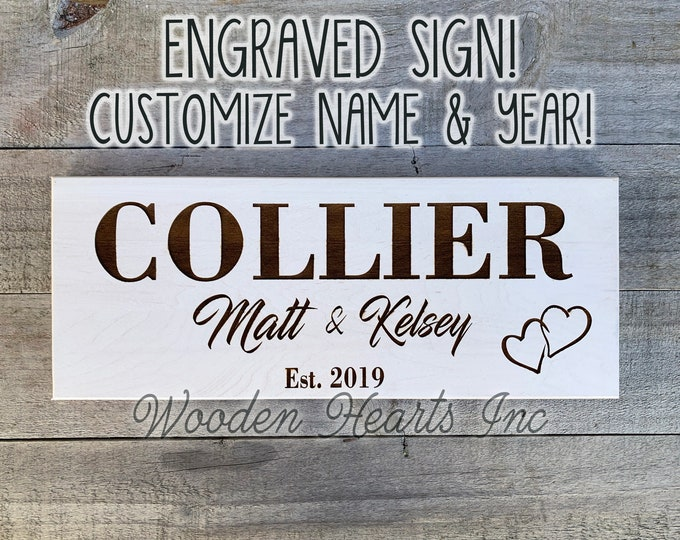 CUSTOM Engraved PERSONALIZED Name Wedding Sign Established Home Year Quality Maple Wood Last Names Anniversary Housewarming Gift Wood Hearts