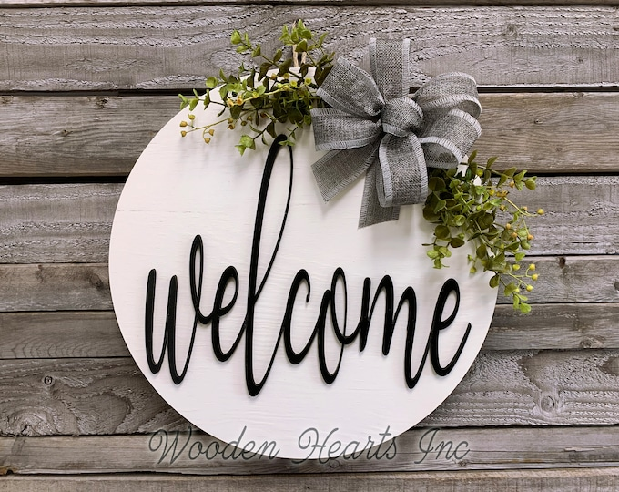 Hello Sign Front Door Sign Hello Door Hanger Round Door Hanger Wood Sign Housewarming Gift Blue Flower Sign