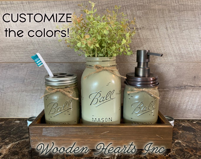 Bathroom Counter Mason Jar SET in BROWN TRAY, Toothbrush Holder, Quart Ball Vase, Soap Dispenser Jars Distressed Decor Silver Bronze Brass