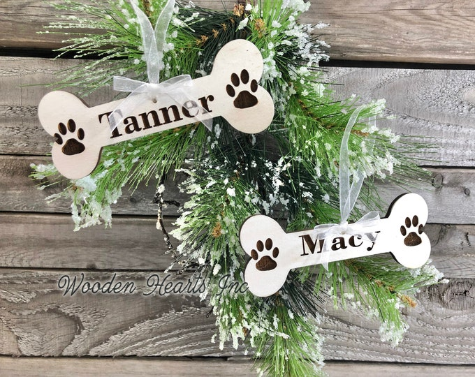 Personalized Ornaments Christmas Pet Name Dog Bone with Paw Prints First Xmas Wood Engraved Custom Tree Decor Gift