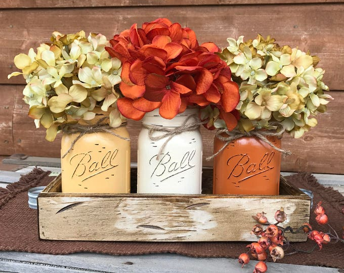 FALL MASON Jars Decor for Thanksgiving Centerpiece (Flowers optional) Antique White TRAY Distressed Wood 3 Ball Painted Pint Jar crm-or-egg