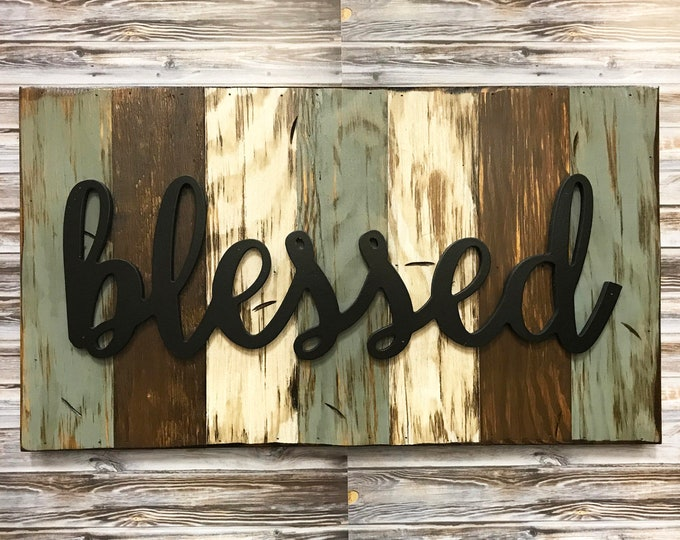 Blessed, Family, Faith, Love Rustic Word Sign Reclaimed Distressed Wood, Hawaiian Blue, Brown, Burgundy, Black, Large Wall Home Decor 28x16