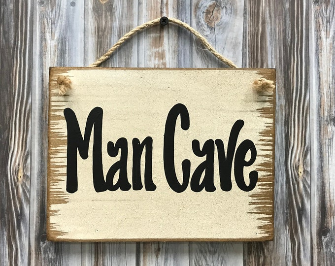 MAN CAVE Sign Wood, Babe Cave, She Shed, Wooden wall distressed sign with twine hanger, Antique White Cream, Gift for man woman 6x8