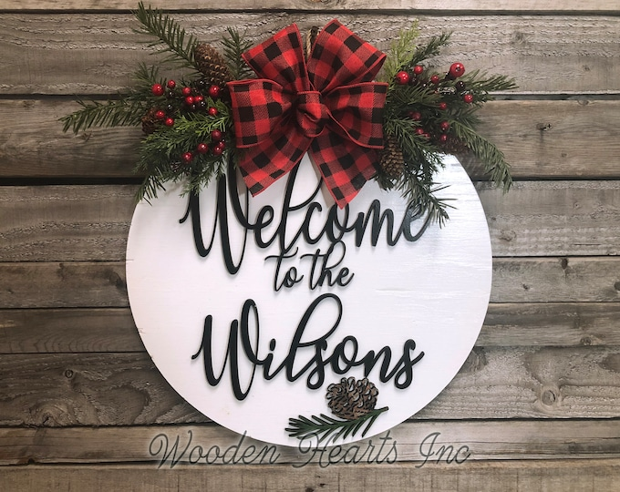 "Personalized Christmas Holiday Door hanger Wreath Wood Round Pinecone Sign Greenery, Name, Merry Christmas, 16"" 3D Wood Lettering Bow"