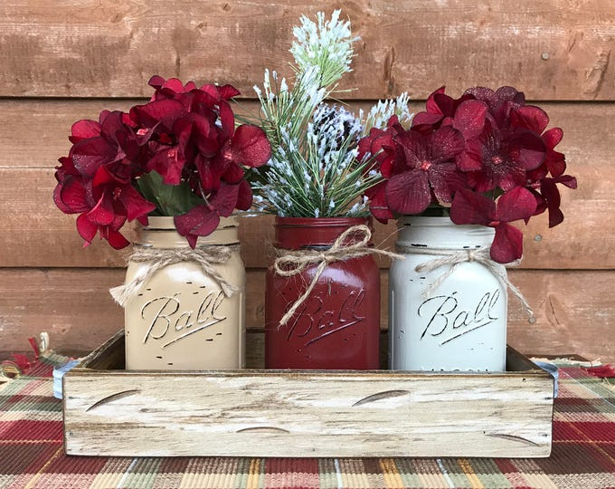 CHRISTMAS HOLIDAY Tray Centerpiece with Jars (Florals optional) Distressed Wood Antique WHITE pine flowers 3 Ball Pint Jar cof-burg-thistle