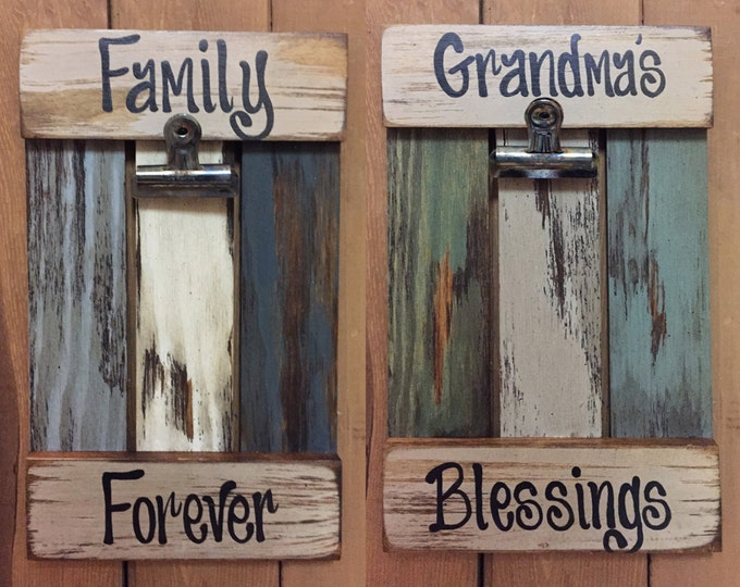 PICTURE FRAME, Family Forever, Grandma's Blessings, Grandma Reclaimed Photo Sign, Cream Teal Wood Gift Home Grandkids Grandparent Pic Holder