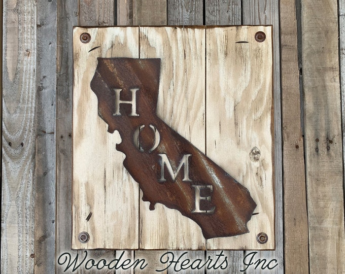 CALIFORNIA Wall Sign with Galvanized Metal *Hang indoor or outdoors *State Shaped HOME Reclaimed Steel Distressed Rustic Antique White Wood