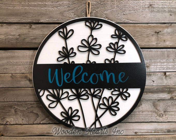 """WELCOME Sign Wood Wall Mount 12"""" or 16"""" Circle 3D Custom House Number Street Address Home Decorative Plaque Round Outdoor Housewarming"""