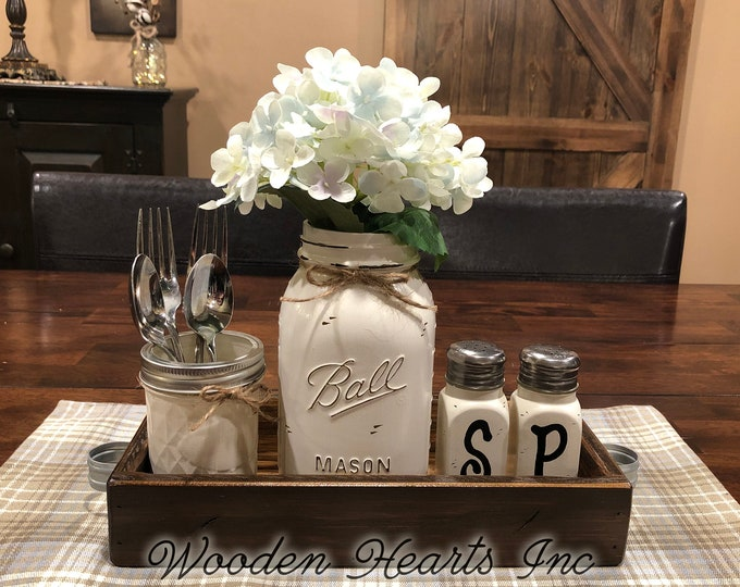 MASON Jar Kitchen 5pc SET in Antique White TRAY, Mini Quilted, Quart Vase + Flower, Salt & Pepper Shakers Ball Jars Distressed Centerpiece