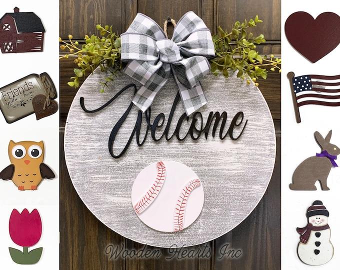 "Door Wreath Baseball Hanger Welcome with Bow Front Door Decor + Interchangeable Season Changer Piece 14"" Round Sign, Hello Sports Ball Heart"