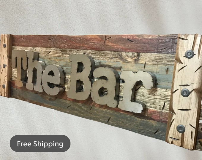 The BAR Rustic Sign Reclaimed Shutter Distressed Industrial BURG Blue Combo Metal Large Pallet Wall Man Cave Home Decor Gift for Men Beer