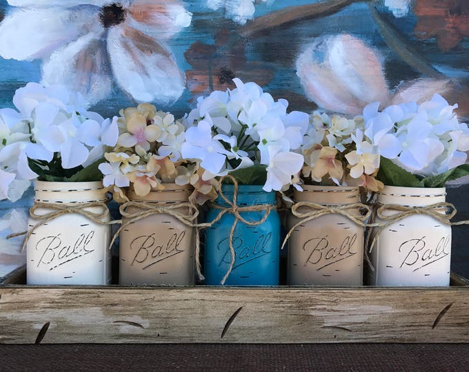 MASON Jar Decor Centerpiece (Flowers optional) -Antique White TRAY with Reclaimed Handles- 5 Ball Canning Painted Pint Jars Distressed Wood