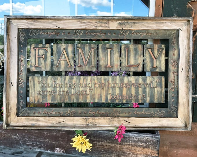 FAMILY Wall Art Framed Metal, Sign decor Reclaimed, antique white As for me and my house Industrial Galvanized Ask for prayer