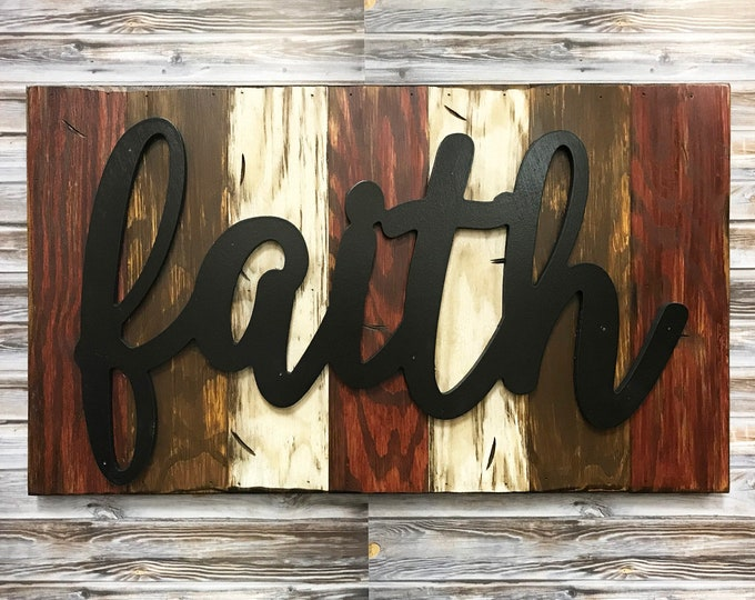 Faith, Blessed, Family, Love Rustic Word Sign Reclaimed Distressed Wood, Hawaiian Blue, Brown, Burgundy, Black, Large Wall Home Decor 28x16