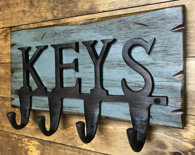 Key Rack for wall *Rustic wood with 4 metal Key Hooks *Wooden Holder for Keys *Distressed Farmhouse Decor Antique White Red Blue 13 X 7.5