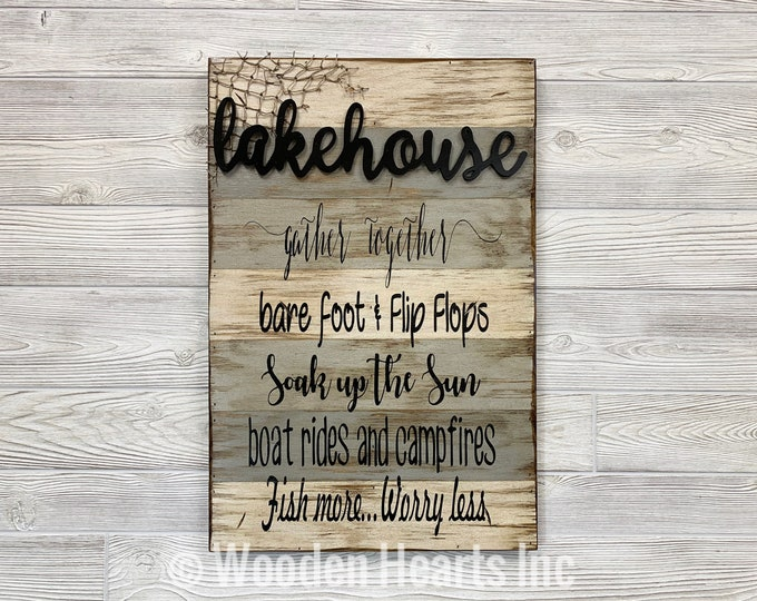 LAKE HOUSE decor SIGN Reclaimed Pallet *Boat Rides Campfires Fish Net *Wooden Home Barn Wood Distressed *Gray Brown Cream White 16X24