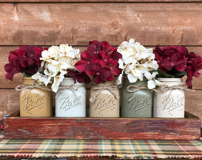CHRISTMAS HOLIDAY Tray Centerpiece with Jars (Florals optional) Distressed Wood Antique RED pine flowers 5 Ball Pint Jar must-cr-cof-pew-san